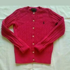 Hot pink Ralph Lauren button up cardigan Sz 8-10